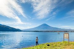 Φούτζι Ιαπωνία, βουνό fuji στο τοπίο χιονιού λιμνών kawaguchiko στοκ εικόνες