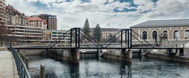 Φράγμα ποταμών της Γενεύης Ροδανός Στοκ εικόνες με δικαίωμα ελεύθερης χρήσης