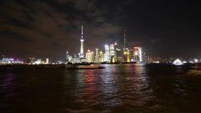 Φράγμα της Σαγκάη χρονικού σφάλματος τη νύχτα, λαμπρά αναμμένο κτήριο παγκόσμιων οικονομικών κέντρων απόθεμα βίντεο