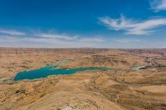 Φράγμα EL Mujib Wadi και λίμνη, Ιορδανία Στοκ φωτογραφίες με δικαίωμα ελεύθερης χρήσης