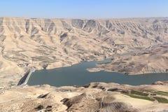 Φράγμα EL Mujib Wadi και λίμνη, Ιορδανία Στοκ εικόνα με δικαίωμα ελεύθερης χρήσης