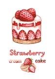 φράουλα απεικόνισης κέικ Στοκ Εικόνα