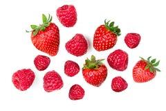 Φράουλα και σμέουρο που απομονώνονται στο άσπρο υπόβαθρο, κορυφή VI Στοκ Εικόνες