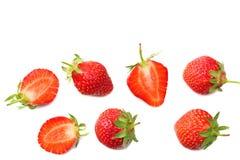 Φράουλα και φέτες που απομονώνονται στο άσπρο υπόβαθρο τρόφιμα υγιή Τοπ όψη στοκ φωτογραφίες