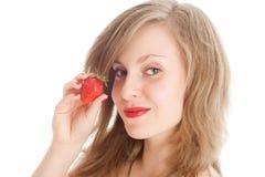 φράουλα κοριτσιών Στοκ Εικόνες