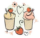 φράουλα πάγου κρέμας Μαύρο άσπρο ρόδινο κόκκινο χέρι creame - γίνοντα σχέδιο για τα παιδιά, ενήλικος, caffee απεικόνιση αποθεμάτων