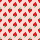 Φράουλα στο ρόδινο υπόβαθρο πρότυπο άνευ ραφής στοκ εικόνες