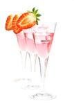 φράουλα τρία γυαλιών κοκ Στοκ Εικόνα