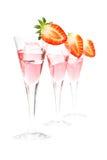 φράουλα τρία γυαλιών κοκ Στοκ φωτογραφία με δικαίωμα ελεύθερης χρήσης