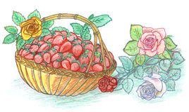 φράουλα τριαντάφυλλων κ&al απεικόνιση αποθεμάτων