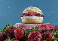 Φράουλα Shortcake με τα φρέσκα μούρα Στοκ εικόνα με δικαίωμα ελεύθερης χρήσης