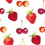 Φράουλες, άγριες φράουλες, κεράσια και ποικιλία γλυκών κερασιών Στοκ Εικόνες