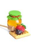 φράουλες βάζων μελιού σ&omic Στοκ εικόνα με δικαίωμα ελεύθερης χρήσης