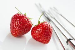 φράουλες δύο Στοκ φωτογραφία με δικαίωμα ελεύθερης χρήσης