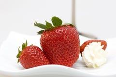 φράουλες πιάτων ομάδας Στοκ Εικόνα
