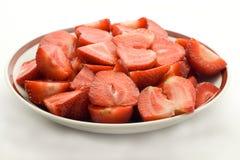 φράουλες πιάτων Στοκ Φωτογραφία