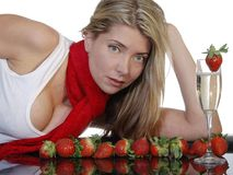 φράουλες σαμπάνιας Στοκ εικόνες με δικαίωμα ελεύθερης χρήσης