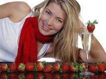 φράουλες σαμπάνιας Στοκ φωτογραφία με δικαίωμα ελεύθερης χρήσης