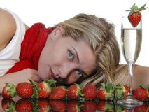 φράουλες σαμπάνιας Στοκ φωτογραφίες με δικαίωμα ελεύθερης χρήσης