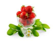 Φράουλες σε ένα βάζο γυαλιού που απομονώνεται στο άσπρο υπόβαθρο Στοκ Εικόνες