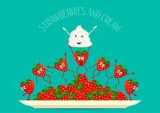 Φράουλα Διάνυσμα φραουλών Φράουλες και σύνθεση κρέμας σε ένα πιάτο Αστεία, φρούτα κινούμενων σχεδίων σύνολο καρπού μορφής εκεί ασ Στοκ Εικόνες