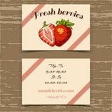 Φράουλα επαγγελματικών καρτών προτύπων Στοκ Φωτογραφία