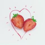 Φράουλα και η καρδιά Στοκ Εικόνες