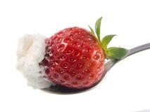 φράουλα κουταλιών κρέμα&sig Στοκ Φωτογραφίες
