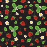 Φράουλα με τα φύλλα και τα λουλούδια Στοκ εικόνα με δικαίωμα ελεύθερης χρήσης