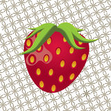 Φράουλα με τα φύλλα και το σχέδιο υποβάθρου Στοκ Εικόνα