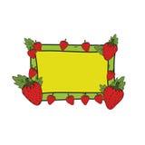 Φράουλα με το κίτρινο και πράσινο συρμένο χέρι διάνυσμα πλαισίων Στοκ Εικόνα