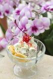 Φράουλα σοκολάτας μιγμάτων παγωτού και μπανάνα, φρούτα κερασιών Στοκ Εικόνες