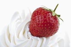 Φράουλα στην κτυπημένη κρέμα Στοκ Εικόνες