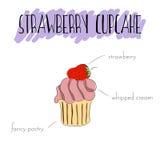 Φράουλα cupcake Στοκ εικόνες με δικαίωμα ελεύθερης χρήσης