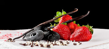Φράουλα, liquorice, βανίλια και σοκολάτα Στοκ Εικόνα