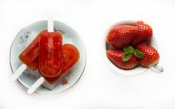 Φράουλα popsicles Στοκ Φωτογραφία