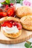 Φράουλα shortcake με την κρέμα Στοκ φωτογραφίες με δικαίωμα ελεύθερης χρήσης