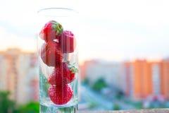 φράουλες γυαλιού Στοκ φωτογραφία με δικαίωμα ελεύθερης χρήσης