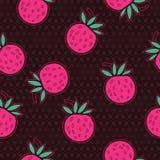 Φράουλες και άνευ ραφής διανυσματικό σχέδιο σημείων Πόλκα Στοκ εικόνες με δικαίωμα ελεύθερης χρήσης