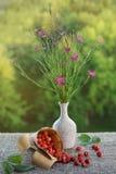 Φράουλες και μια ανθοδέσμη των άγριων λουλουδιών Στοκ Φωτογραφία