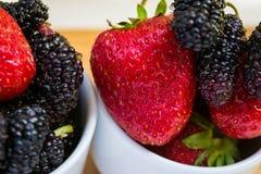 Φράουλες και μουριές, οριζόντιες Στοκ φωτογραφίες με δικαίωμα ελεύθερης χρήσης