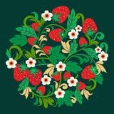 Φράουλες και λουλούδι σχεδίων Khokhloma Στοκ εικόνα με δικαίωμα ελεύθερης χρήσης