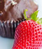 Φράουλες και φρούτα ανοχής μέσων φραουλών και κέικ Στοκ Εικόνες