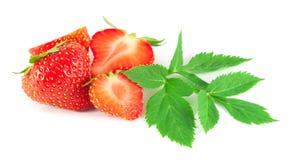 Φράουλες με τα φύλλα Στοκ φωτογραφίες με δικαίωμα ελεύθερης χρήσης
