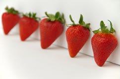 Φράουλες με τους πράσινους μίσχους Στοκ φωτογραφία με δικαίωμα ελεύθερης χρήσης