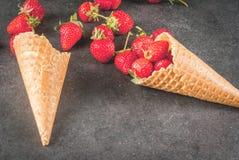 Φράουλες στους κώνους παγωτού στοκ εικόνα με δικαίωμα ελεύθερης χρήσης