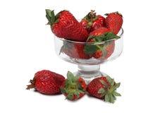 Φράουλες στο γυαλί τρία στοκ εικόνες