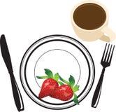 Φράουλες στο πιάτο διανυσματική απεικόνιση