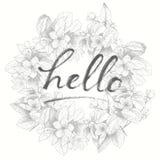 Φράση εγγραφής χεριών στη floral πλάτη Στοκ Φωτογραφία