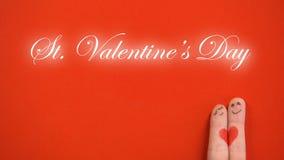 Φράση ημέρας βαλεντίνων του ST και αγκάλιασμα του ζεύγους προσώπου δάχτυλων στο κόκκινο υπόβαθρο διανυσματική απεικόνιση
